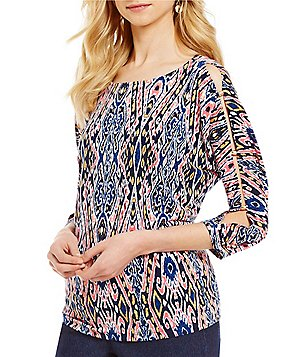 Ruby Rd. Petites 3/4 Sleeve Cold-Shoulder Printed Knit Top
