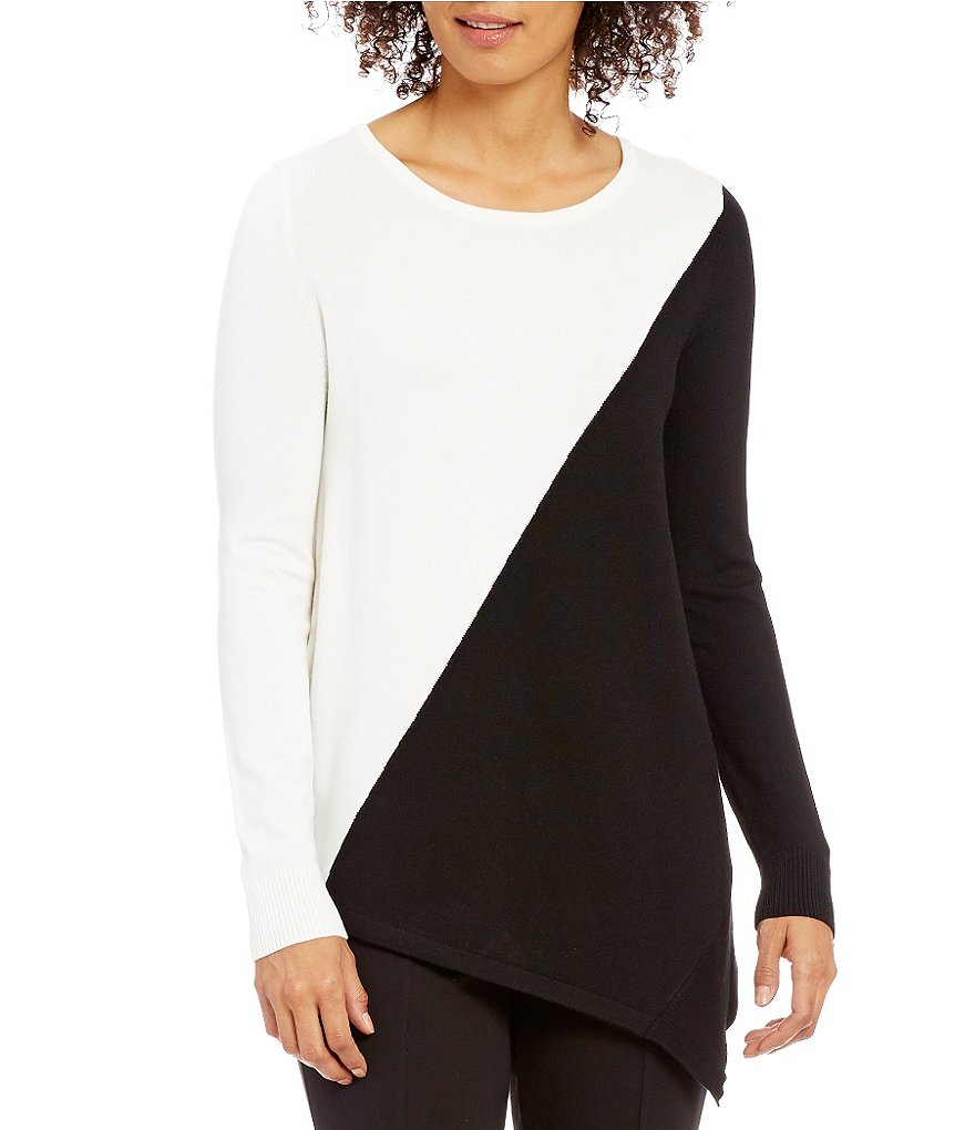 Calvin Klein Boat Neck Asymmetrical Colorblock Knit Sweater