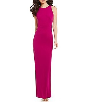 JS Collections Halter Neck Sleeveless Cut-Out Back Solid Jersey Gown