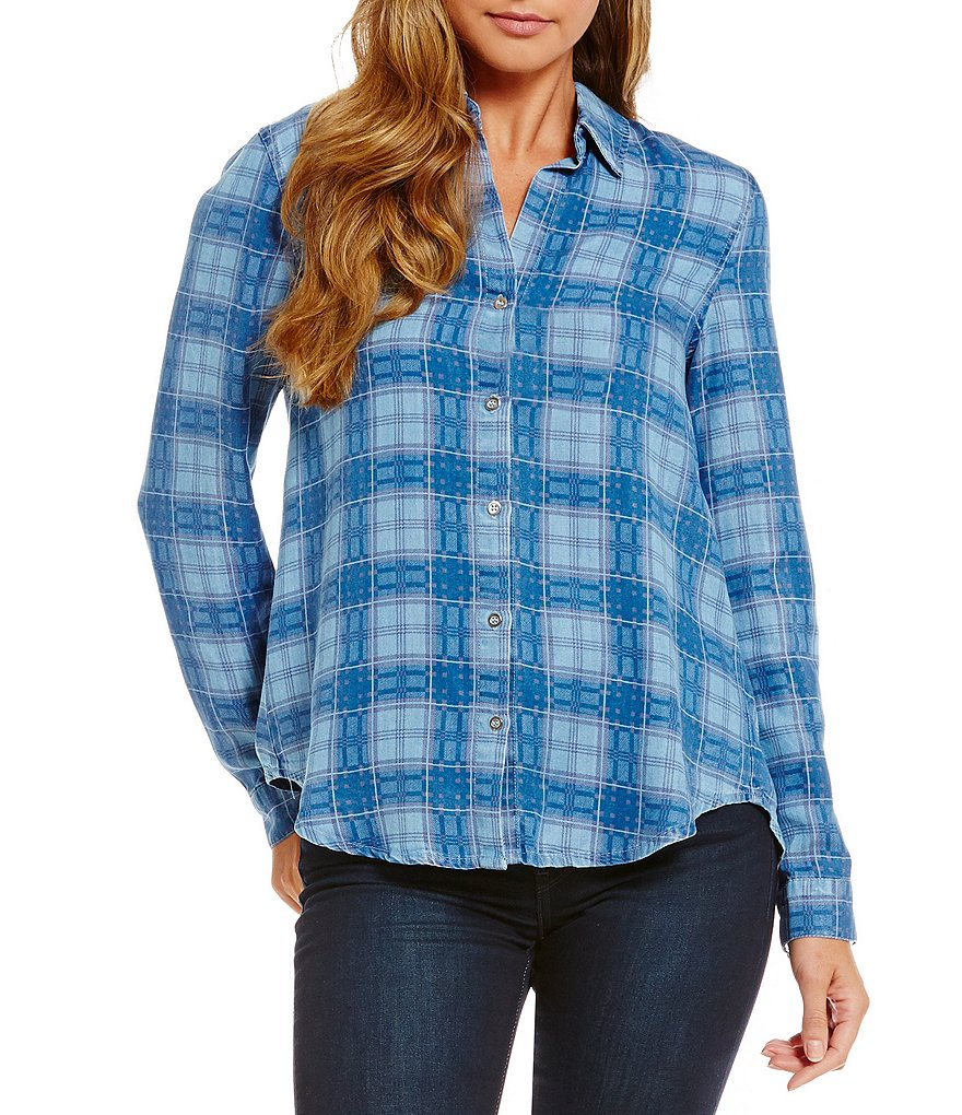 Chelsea & Theodore Plaid Tencel Button Front Shirt