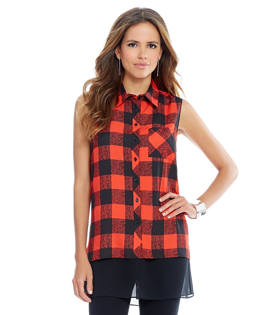 Gianni Bini Bunny Sleeveless Check Blouse