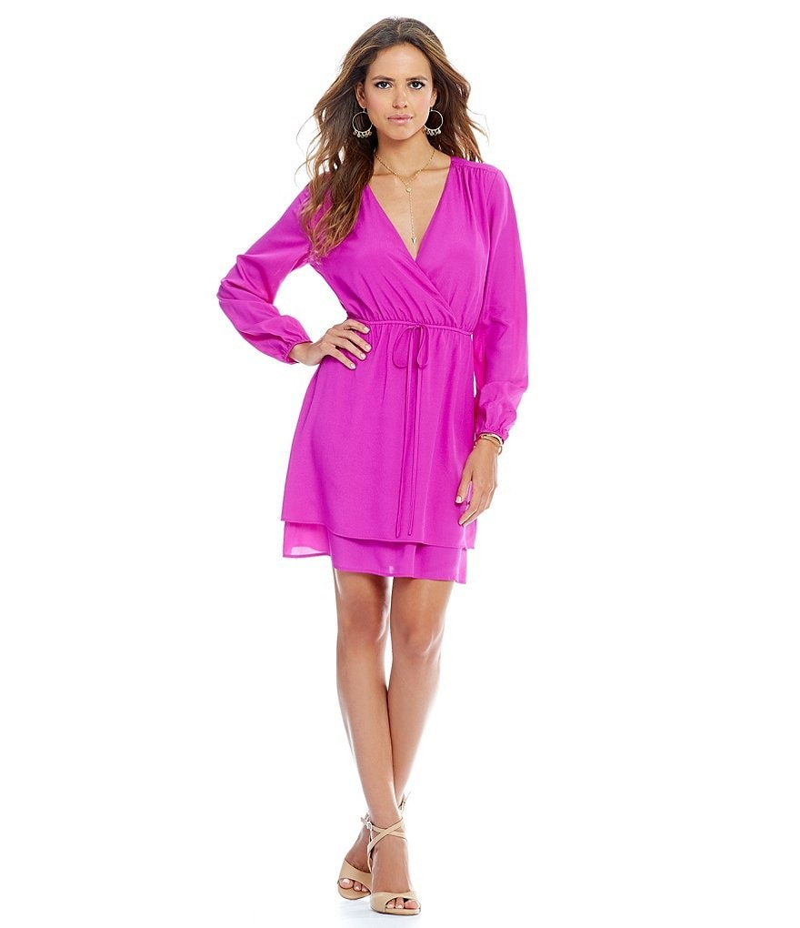 Gianni Bini Donelda Long Sleeve Wrap Dress