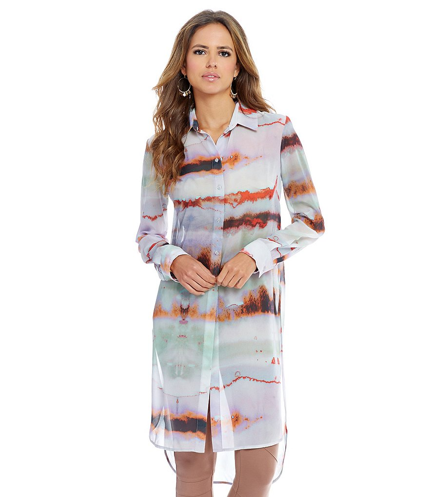 Gianni Bini Anna Button Front PrInt Duster Blouse