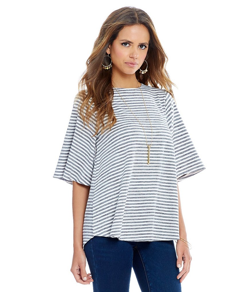 Gianni Bini Knt Stripe Lace Up Back Knit Top