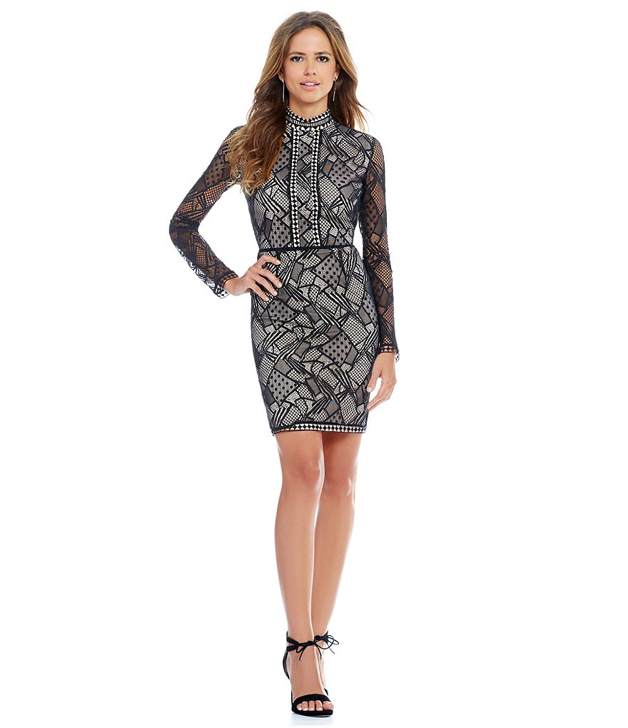Gianni Bini Bibi Mock Neck Lace Dress