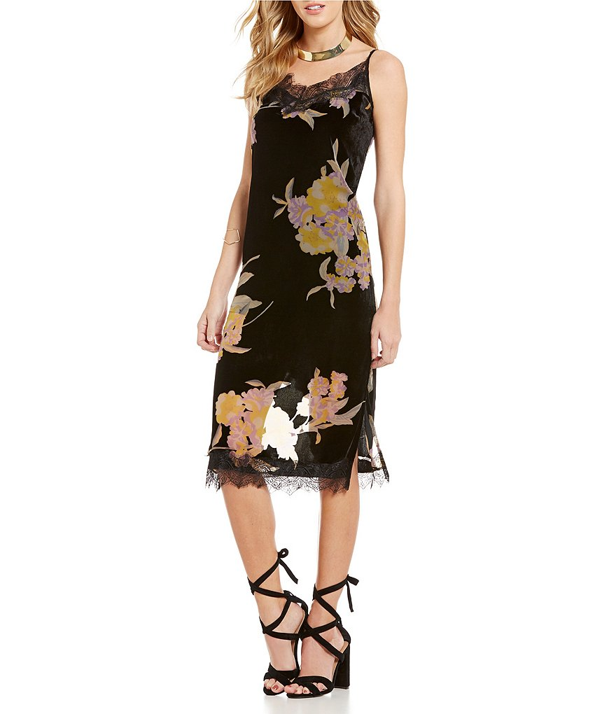 Band Of Gypsies Sleeveless Burnout Velvet Floral Midi Dress