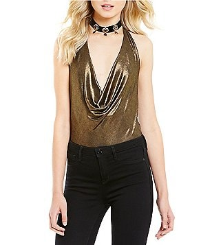 Band Of Gypsies Halter Cowl Neck Bodysuit