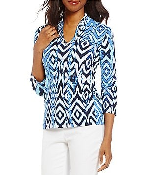 Ruby Rd. Petites Embellished Funnel Neck Safari Diamonds Print Knit Top