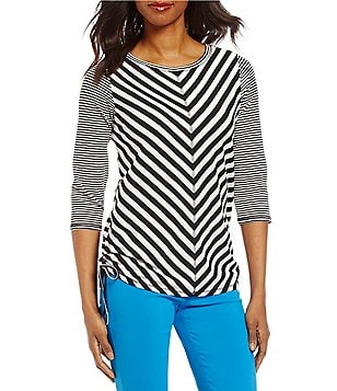 Ruby Rd. Petites 3/4 Sleeve Double Side Ruching Stripe Silky French Terry Top