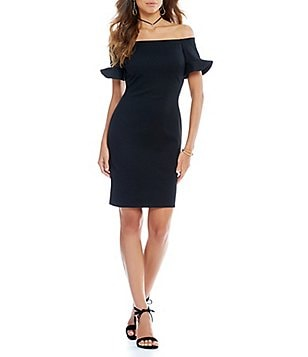 Gianni Bini Tamara Fan Fav Ruffled Off-the-Shoulder Sheath Dress