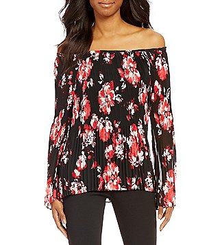 I.N. Studio Off-The-Shoulder Red Garden Print Long Sleeve Top