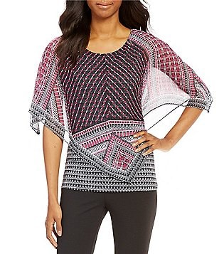 I.N. Studio Round Neck 3/4 Sleeve Geo Placement Print Top