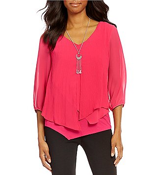 I.N. Studio V-Neck 3/4 Sleeve Solid Pleated Top