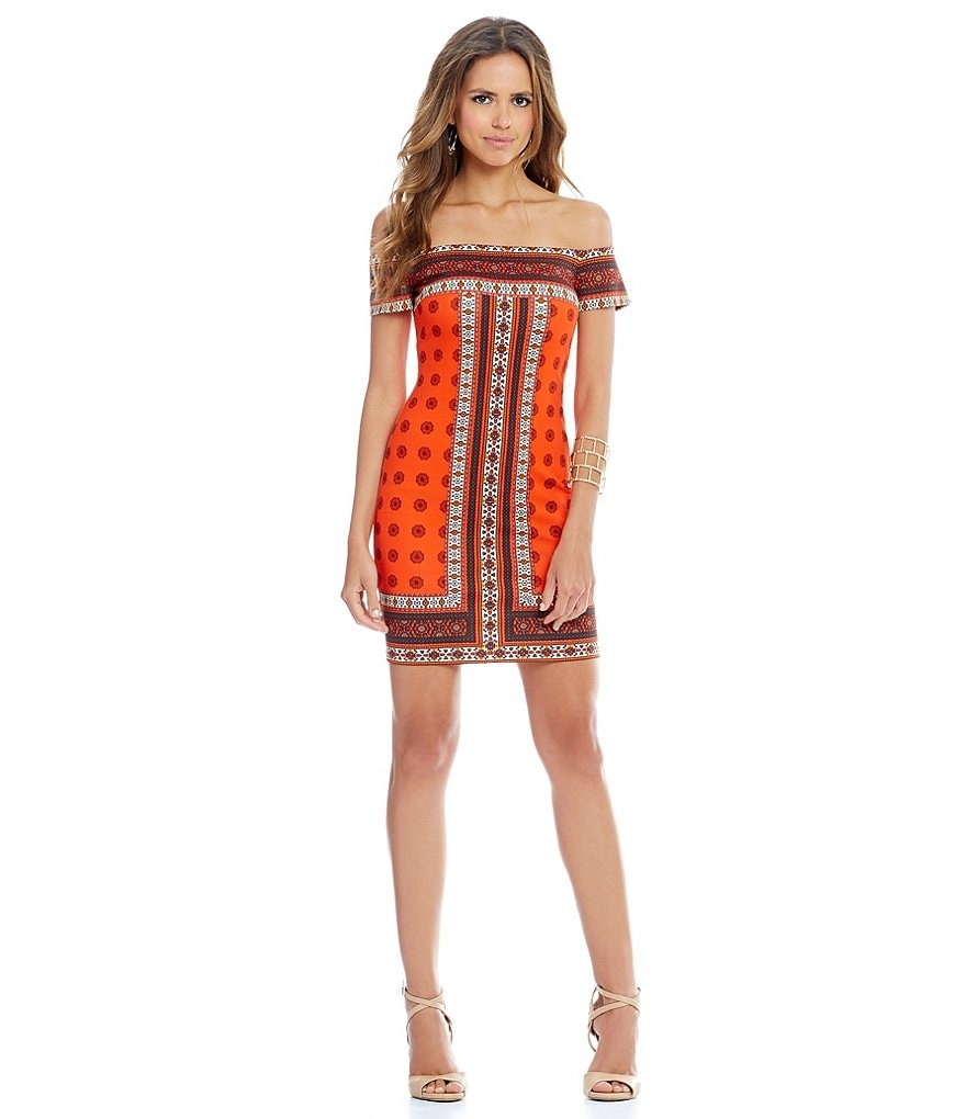 Gianni Bini Shirley Off The Shoulder Boarder Print Dress