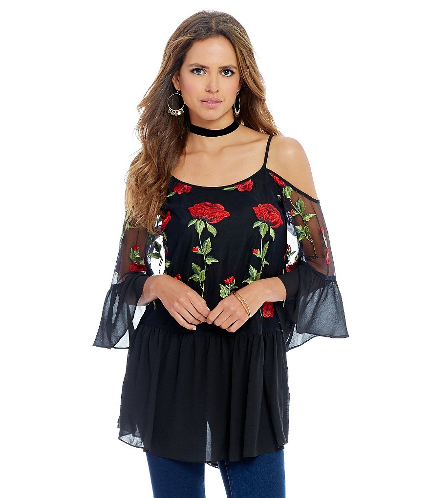 Gianni Bini Lacey Rose Embroidered Cold-Shoulder Bell Sleeve Blouse