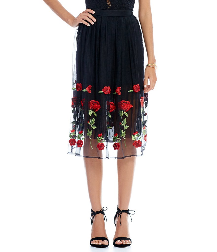 Gianni Bini Charlene Rose Embroidered Midi Skirt