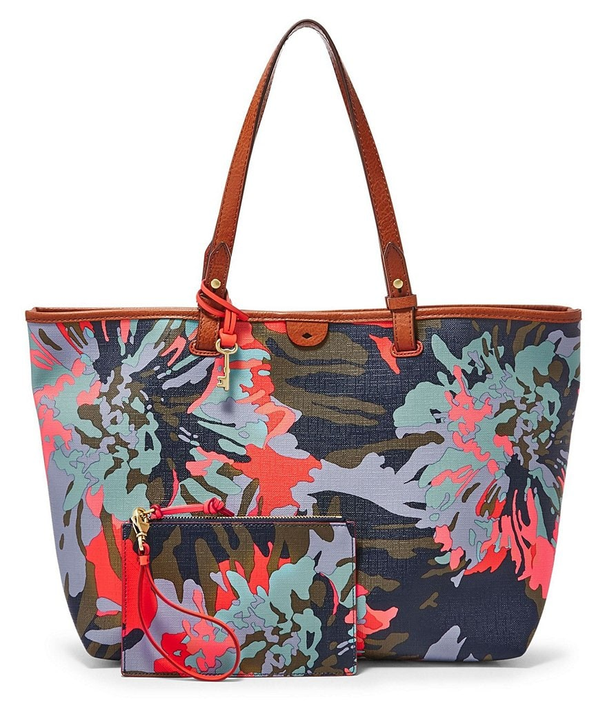 Fossil Rachel Floral Convertible Work Tote