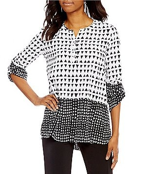 Multiples Henley-Neck Long Roll-Tab Sleeve Border Print Tunic