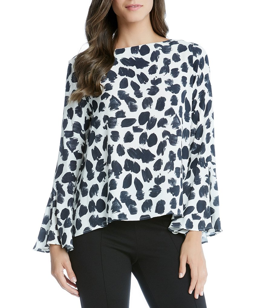 Karen Kane Boatneck Long Bell Sleeve Top
