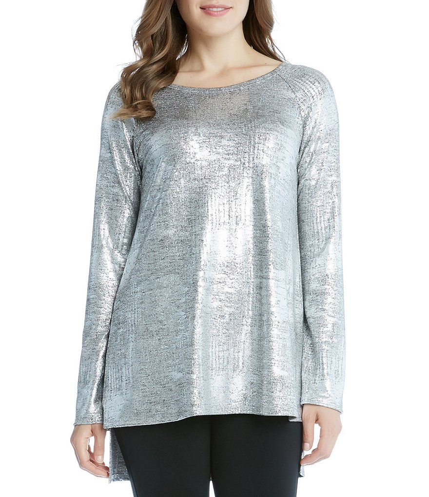 Karen Kane Crew Neck Raglan Sleeve Hi-Low Top