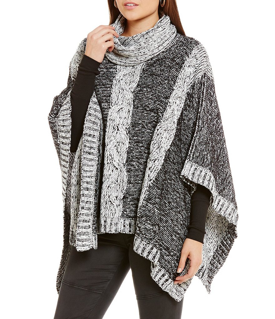 ELAN Cable Knit Cowl Chunky Poncho Sweater