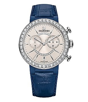 Swarovski Citra Sphere Chronograph & Date Leather-Strap Watch