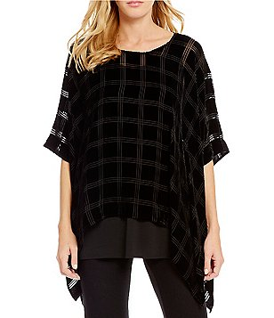 Eileen Fisher 3/4 Sleeve Velvet Plaid Poncho