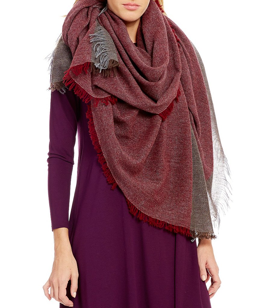 Eileen Fisher Colorblocked Wool & Cashmere Wrap Scarf