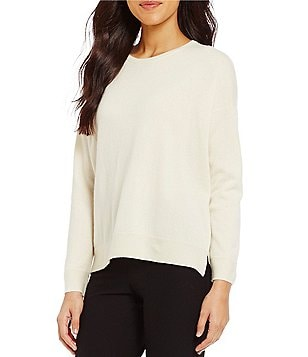 Eileen Fisher Round Neck Long Sleeve Cashmere Box-Top
