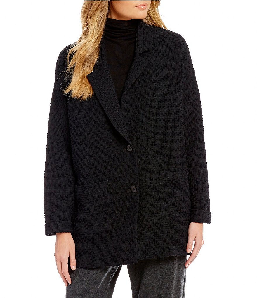 Eileen Fisher Notch Collar Long Jacket