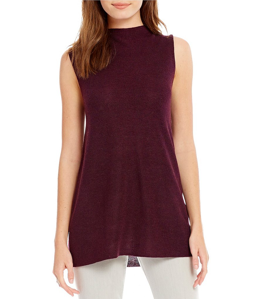 Eileen Fisher Mock Neck Sleeveless Sweater Top