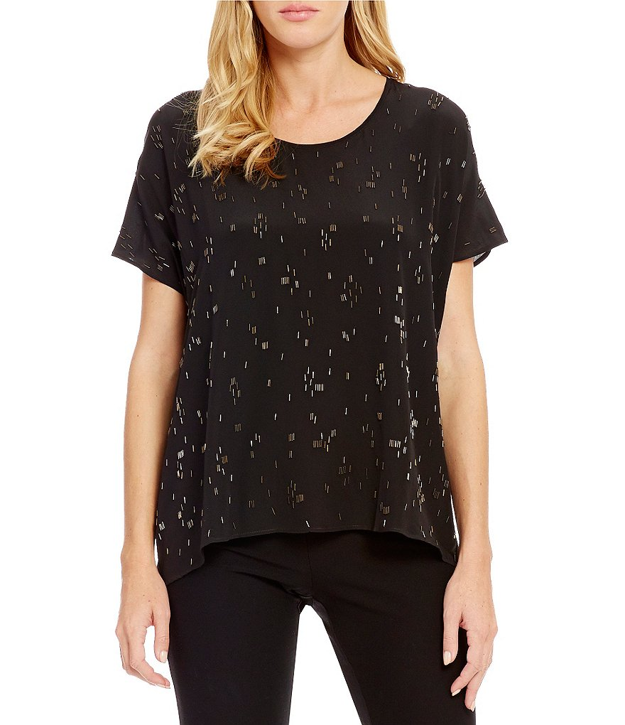 Eileen Fisher Scoop Neck Short Sleeve Box-Top