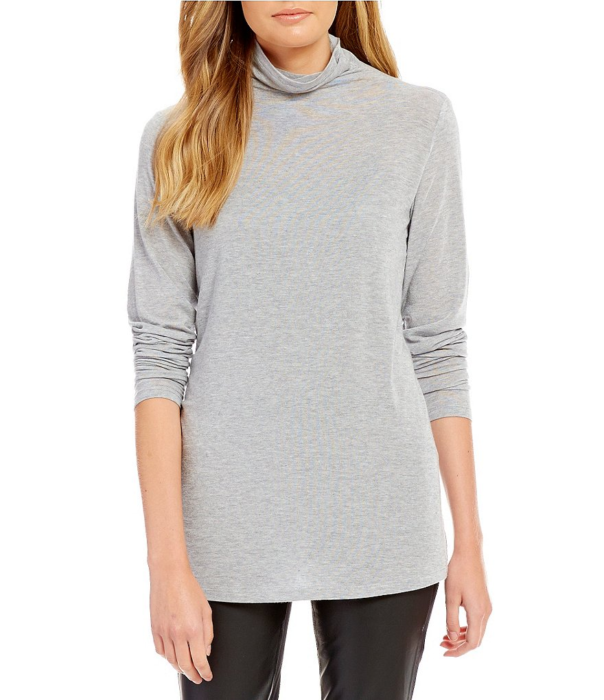Eileen Fisher Funnel Neck Long Sleeve Slouchy Top