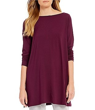 Eileen Fisher Bateau Neck Solid Jersey Tunic