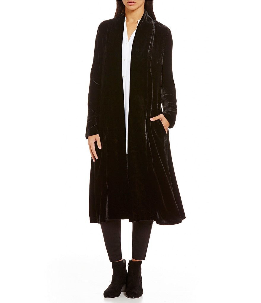 Eileen Fisher Velvet Shawl Collar Maxi Jacket