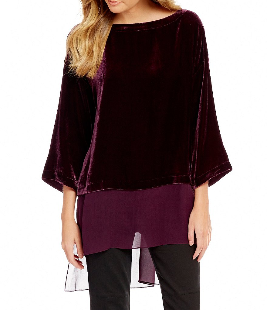 Eileen Fisher Velvet Bateau Neck Sheer Hi-Low Hem Top