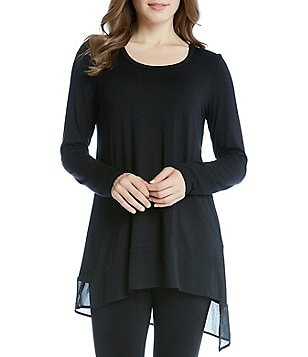 Karen Kane Long Sleeve Asymmetric Sheer Hem Tunic