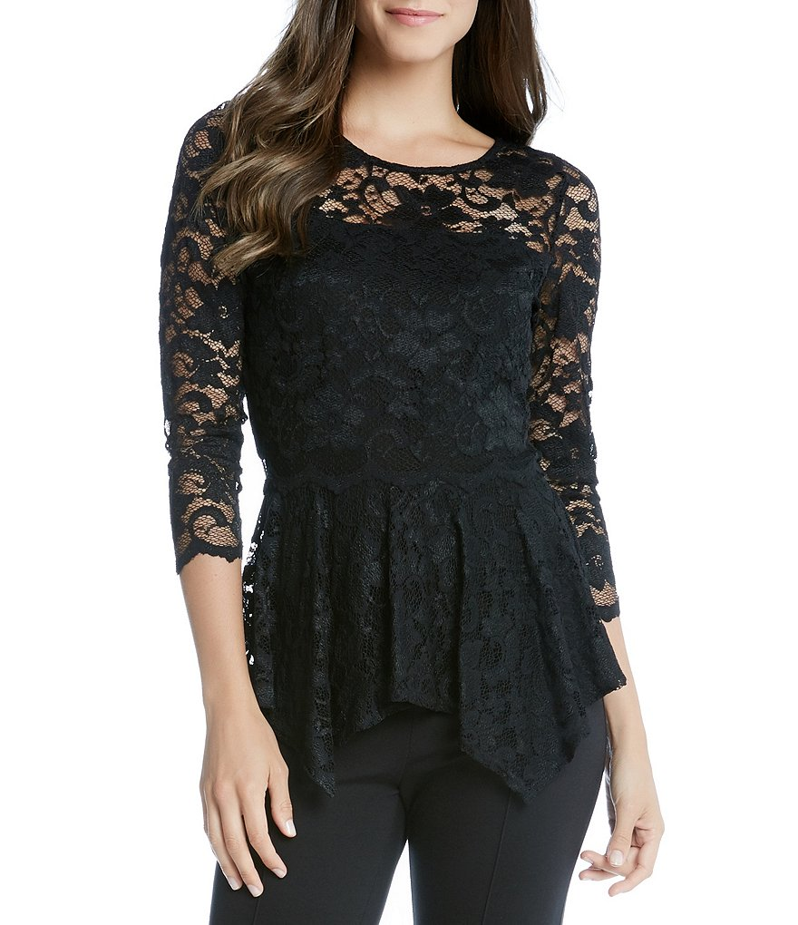 Karen Kane Scoop Neck 3/4 Sleeve Solid Lace Peplum Blouse