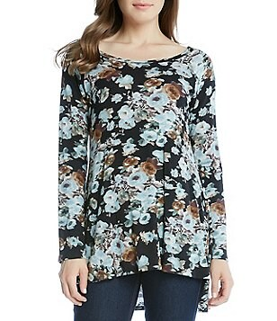 Karen Kane Boat Neck Raglan Sleeve Blue Floral Top