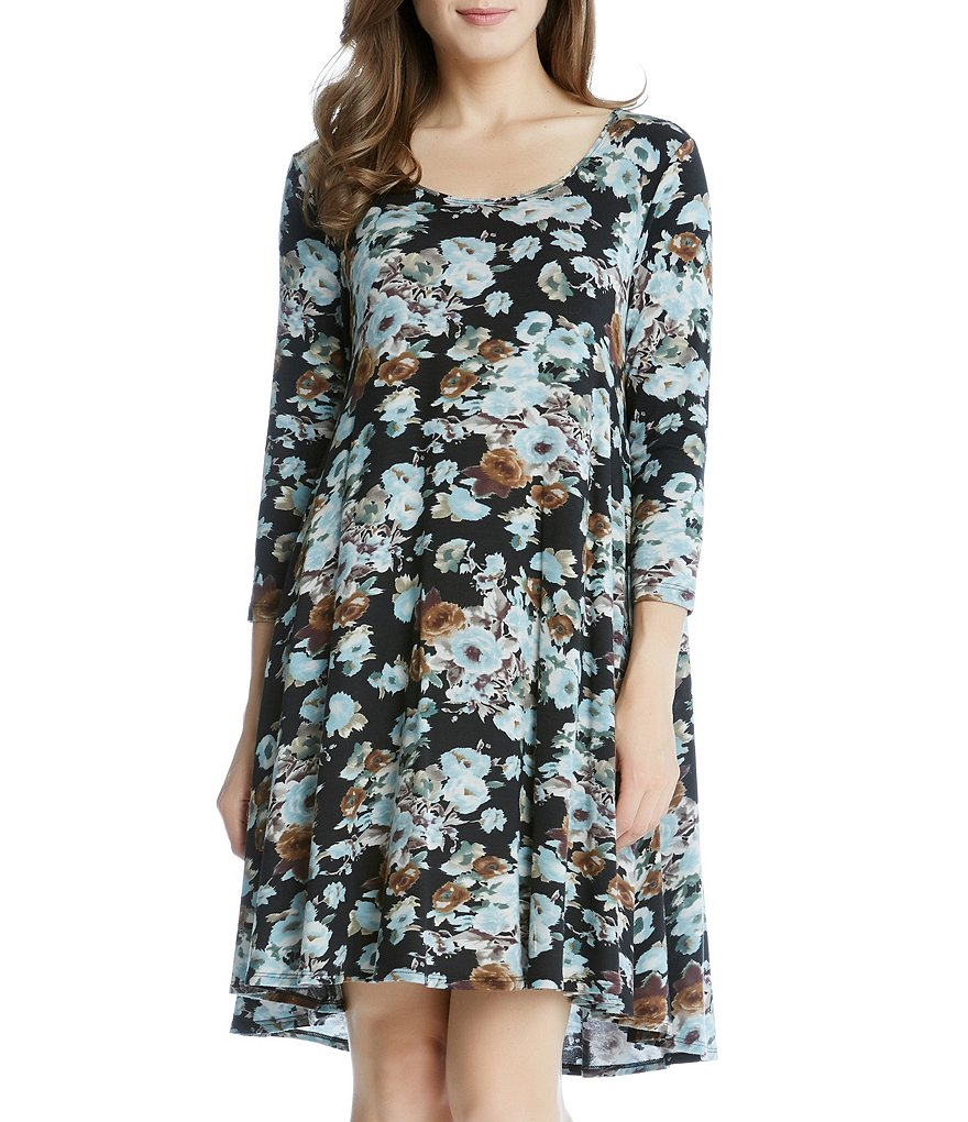 Karen Kane Blue Floral Maggie Trapeze Dress