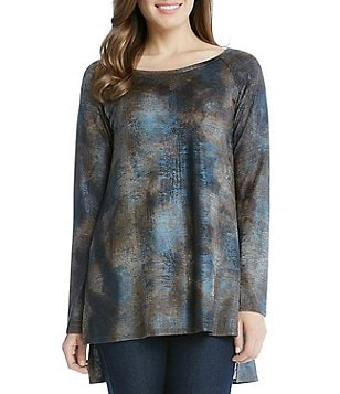 Karen Kane Hi-Lo Raglan Sleeve Stretch Knit Top