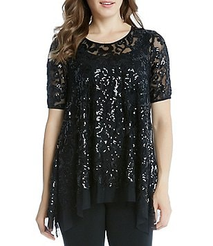 Karen Kane Sequin Mesh Short Sleeve Flare Top