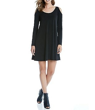 Karen Kane Cold-Shoulder Long Sleeve Trapeze Dress