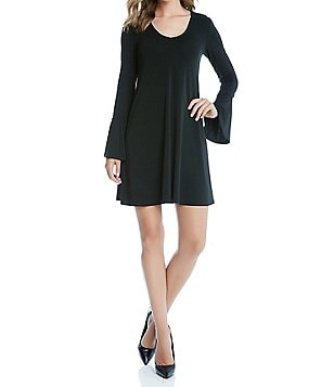 Karen Kane Taylor Scoop Neck Bell Sleeve Matte Jersey Dress