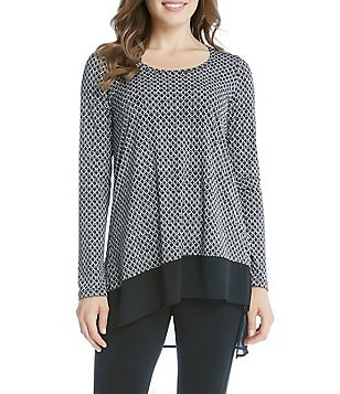 Karen Kane Asymmetric Contrast Hem Long Sleeve Printed Top