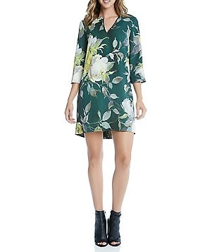 Karen Kane Woven Crepe Floral Print Split V-Neck Shift Dress