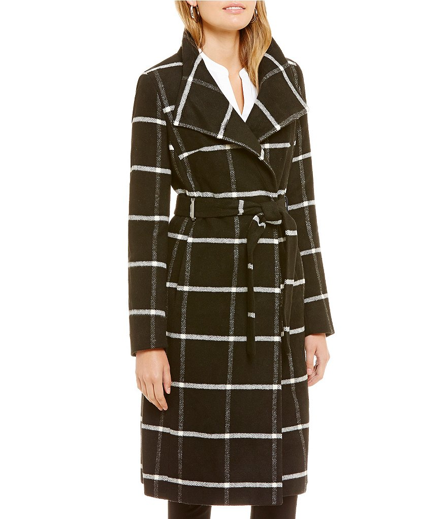 Ivanka Trump Plaid Single Breasted Belted Walker Coat