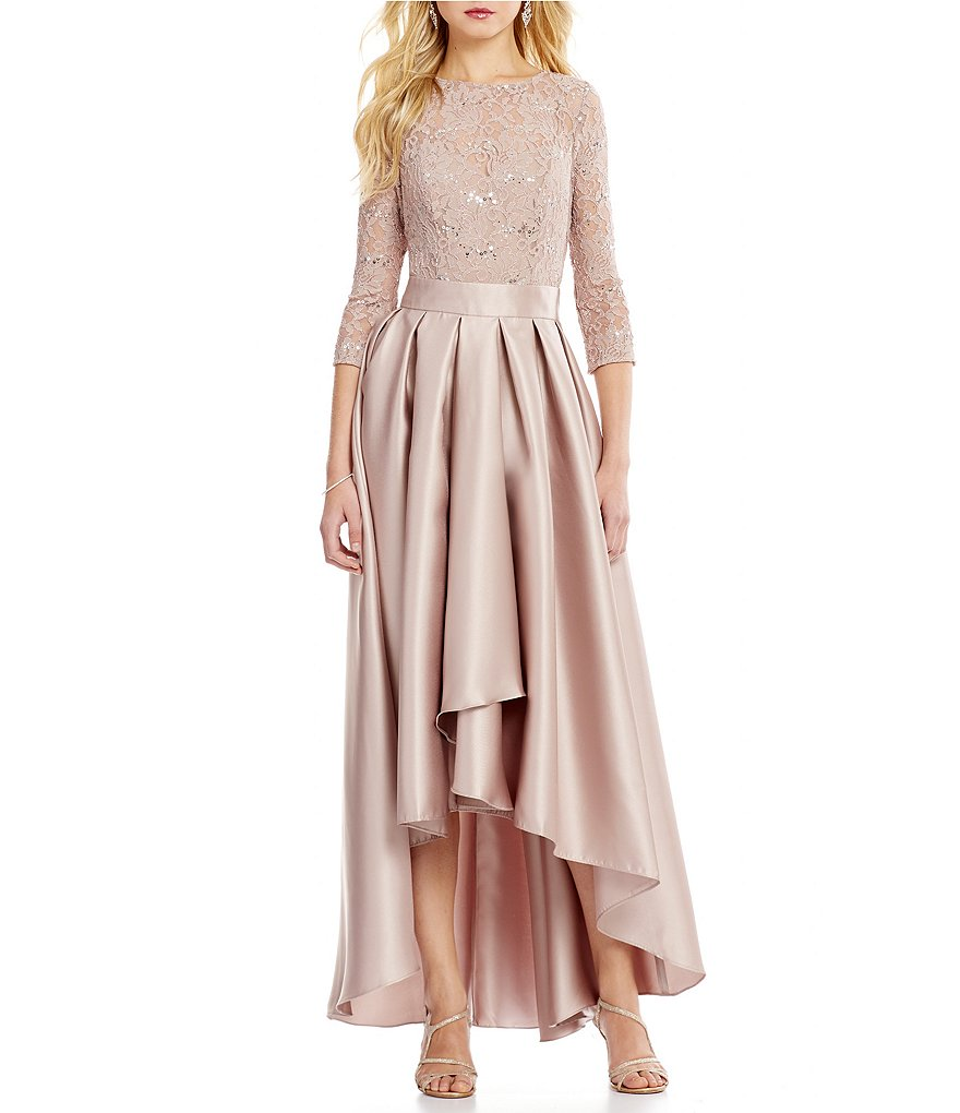 Ignite Evenings 3/4 Sleeve Lace Top Bodice Hi-Low Gown