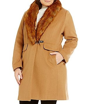 Ivanka Trump Plus Wool Coat With Detachable Faux-Fur Collar