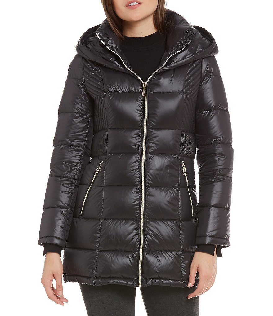 Ivanka Trump Light Weight Down Cinched-Waist Puffer Coat